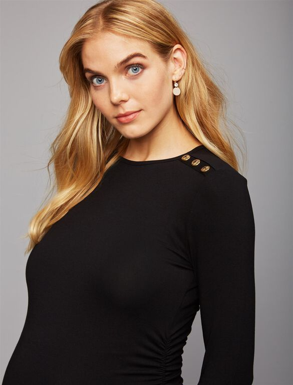 Isabella Oliver Button Detail Maternity Top, Black