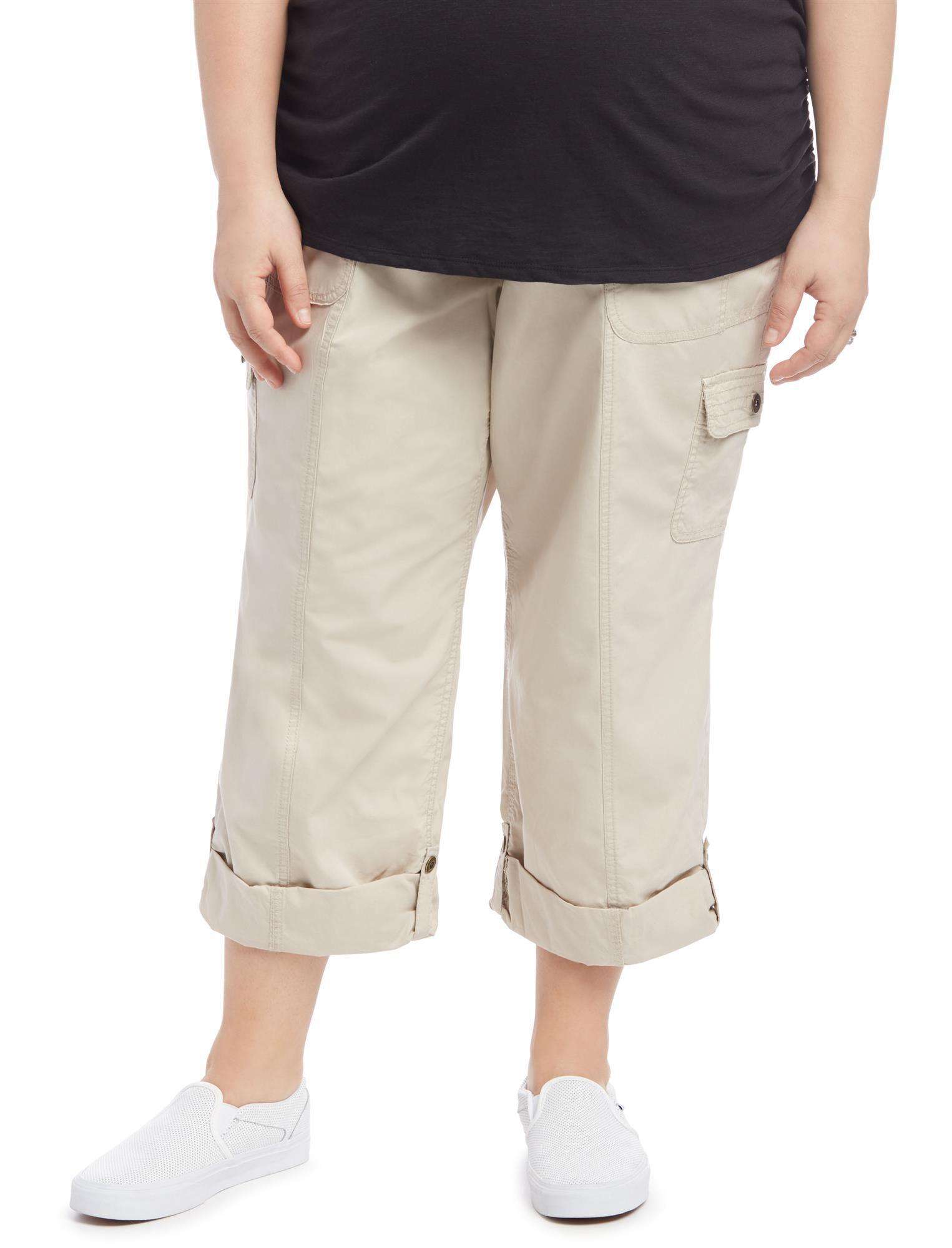 Plus Size Straight Leg Maternity Crop Pants