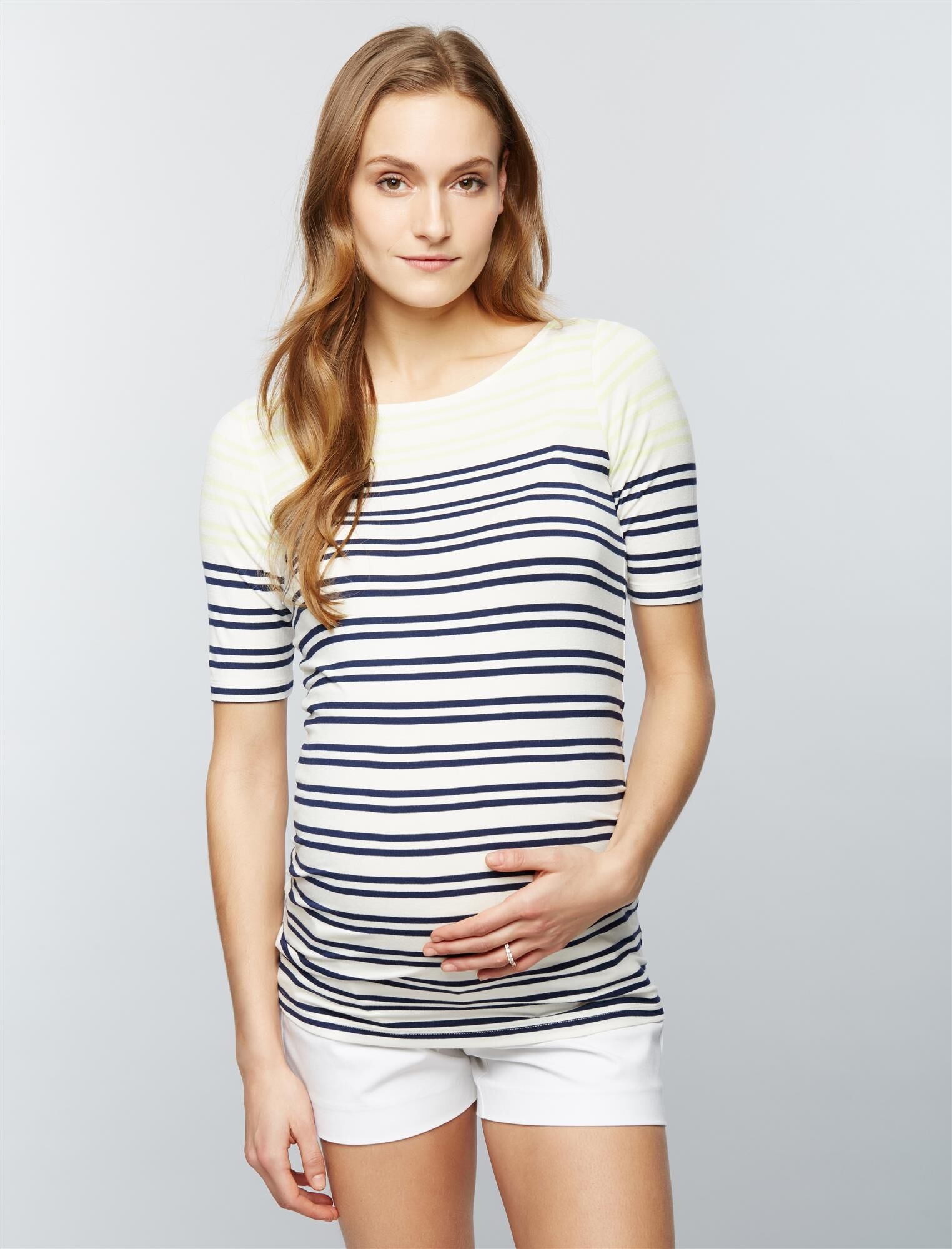 Luxe Essentials Denim Striped Maternity Top