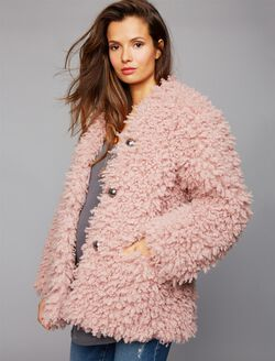 Super Soft Faux Fur Maternity Jacket, Rose Quartz