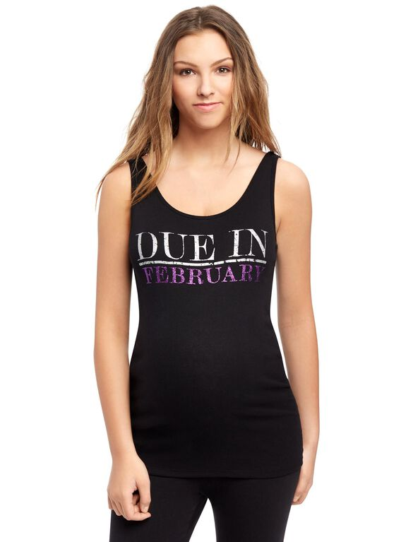 Due in February Maternity Graphic Tank Top, Amethyst Glitter
