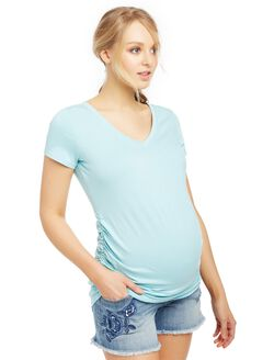 V-neck Side Ruched Maternity Tee- Solid, Cool Aqua