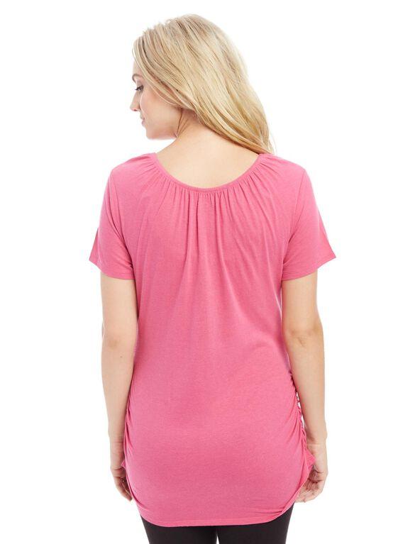 V-neck Pull Down Nursing Tee, Pink