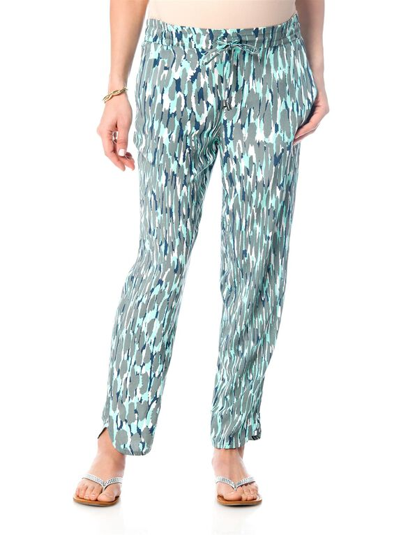 Splendid Pull On Style Rayon Maternity Crop Pants, Sea Green