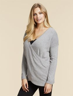 Jessica Simpson Pull Down Cross Front Nursing Shirt, Grey