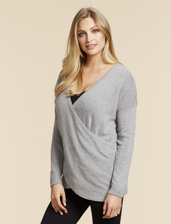 Jessica Simpson Pull Down Cross Front Nursing Shirt, Grey