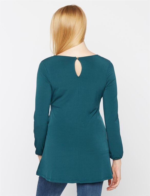 High-low Hem Maternity Tunic, Emerald