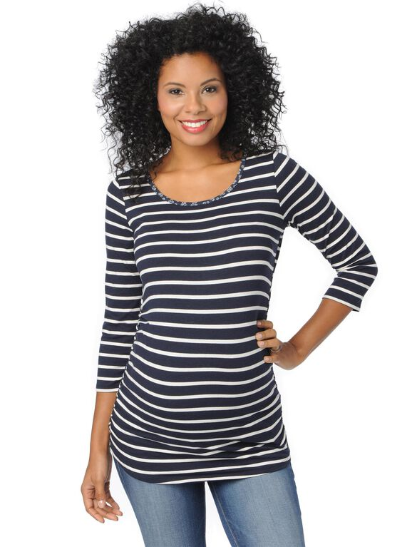 Striped Side Ruched Maternity Top, Navy White Stripe