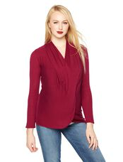 Long Pull Over Cross Front Nursing Top, Dark Red