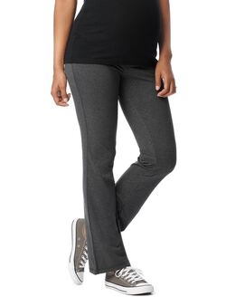 Foldover Belly Boot Cut Maternity Yoga Pants, Grey