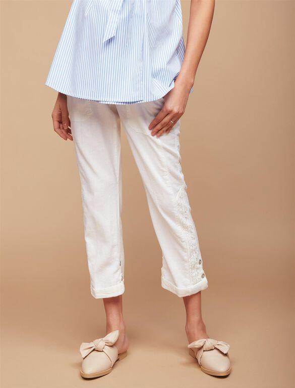 Secret Fit Belly Linen Blend Straight Leg Maternity Pants, White