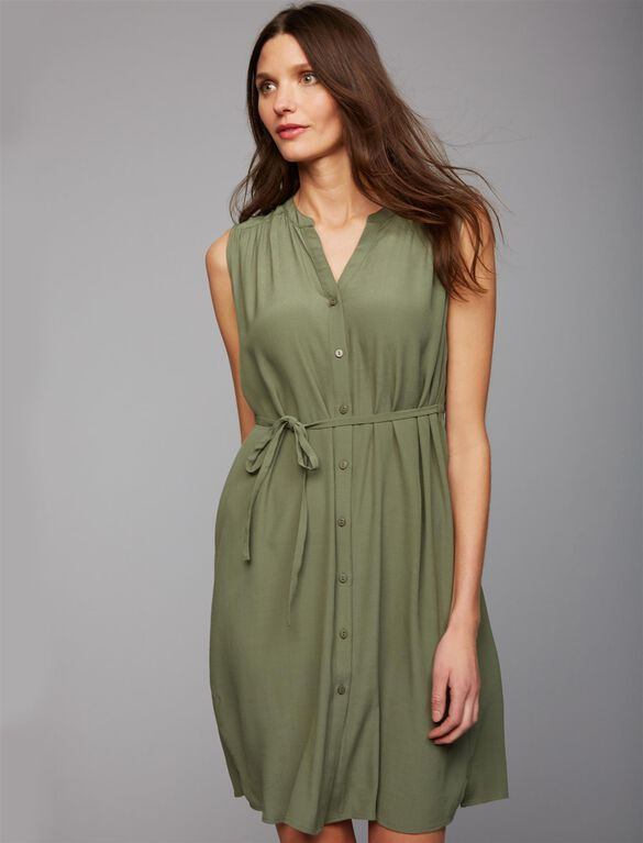 Ripe Button Front Maternity Dress, Olive