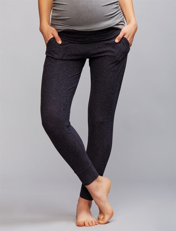Beyond The Bump Fold Over Belly Maternity Pants, Black Steel