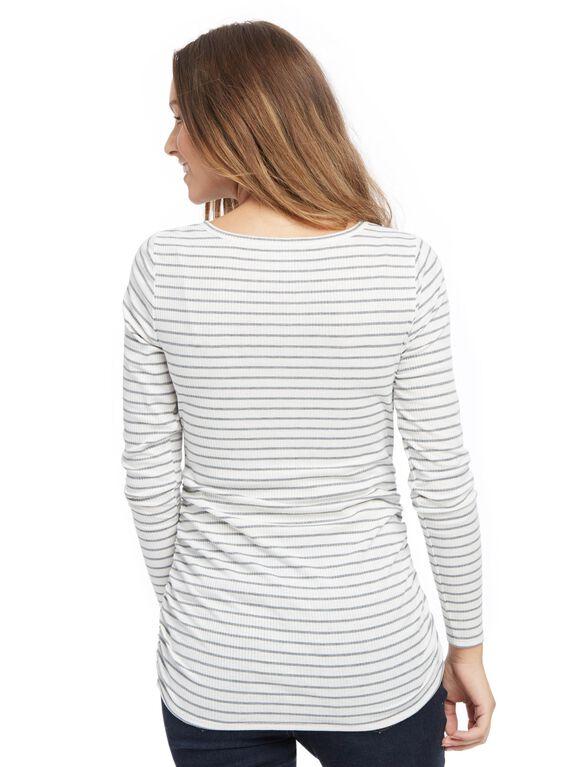 Henley Maternity T Shirt, White/Grey Stripe