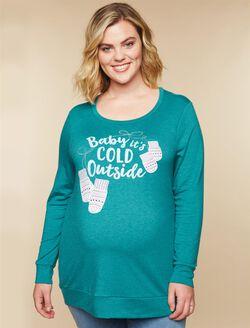 Plus Size Screen Print Maternity Sweatshirt, Green