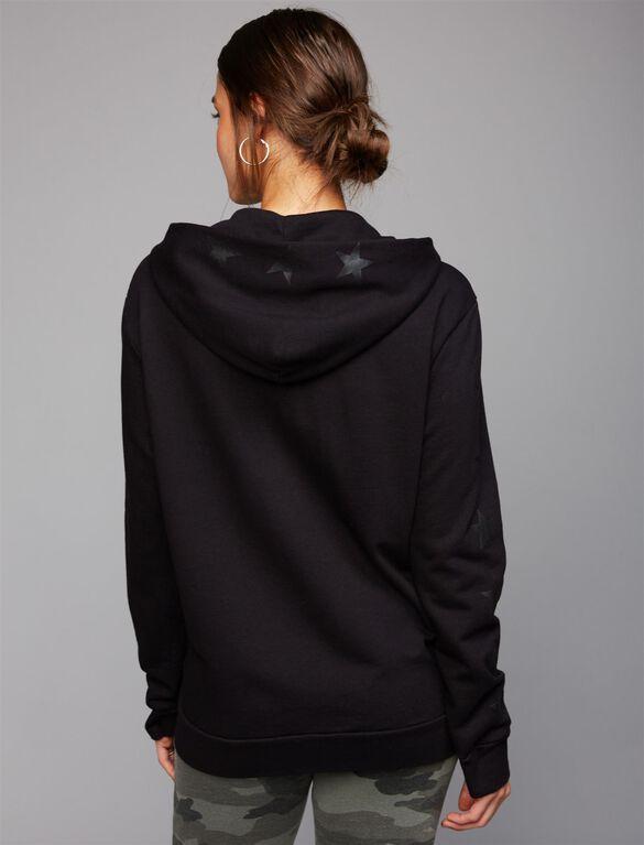 Monrow Star Zip Up Maternity Sweatshirt, Black