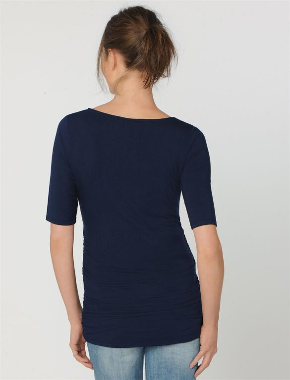 Elbow Sleeve Side Ruched Maternity Tee- Solid, Midnight