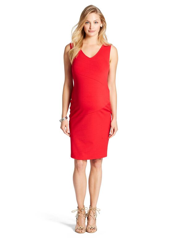 Web Only Jessica Simpson Exposed Zipper Maternity Dress, Red