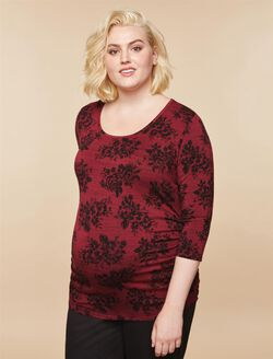 Plus Size Side Ruched Maternity T Shirt, BURGUNDY PRINT