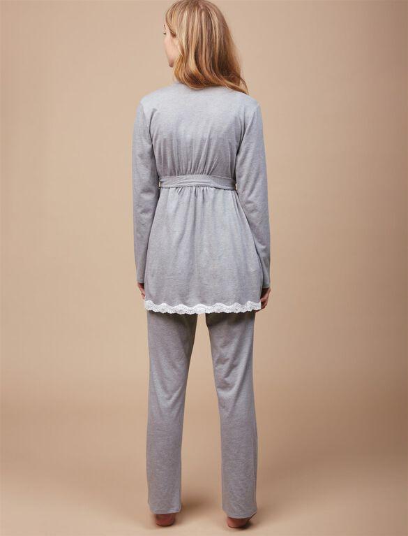 Lace Trim 3 Piece Maternity Pajama Set, Gray Dot