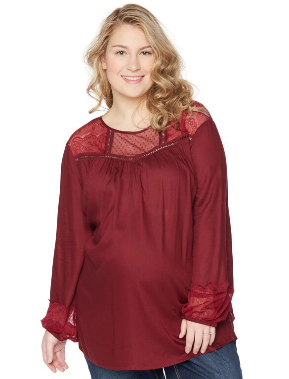 Wendy Bellissimo Plus Size Lace Trim Maternity Blouse, Burgundy