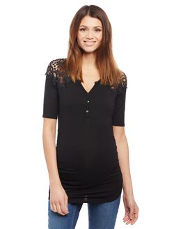 Crochet Shoulder Henley Maternity Knit Top - Black, Black