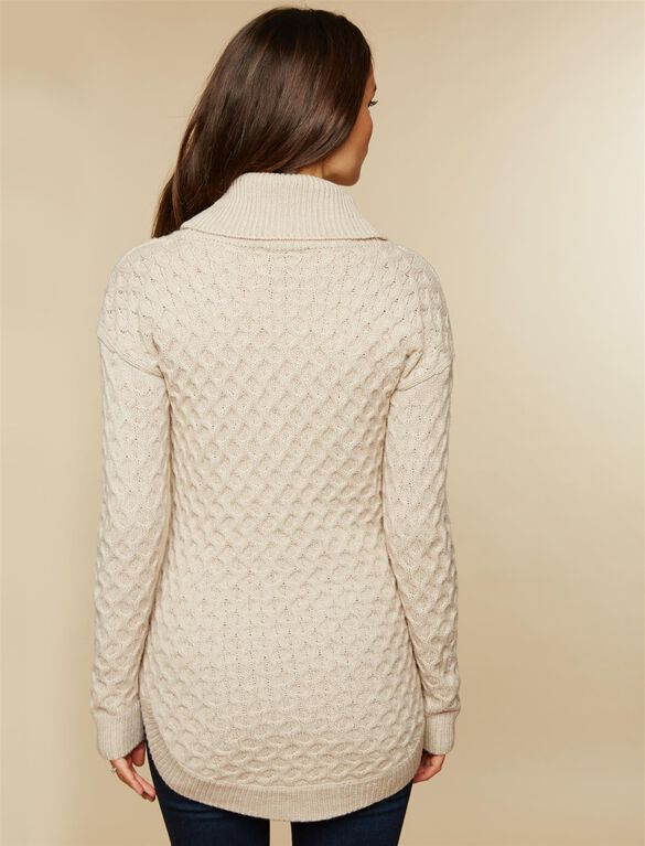 Cozy Cable Cowl Neck Maternity Sweater, Oatmeal