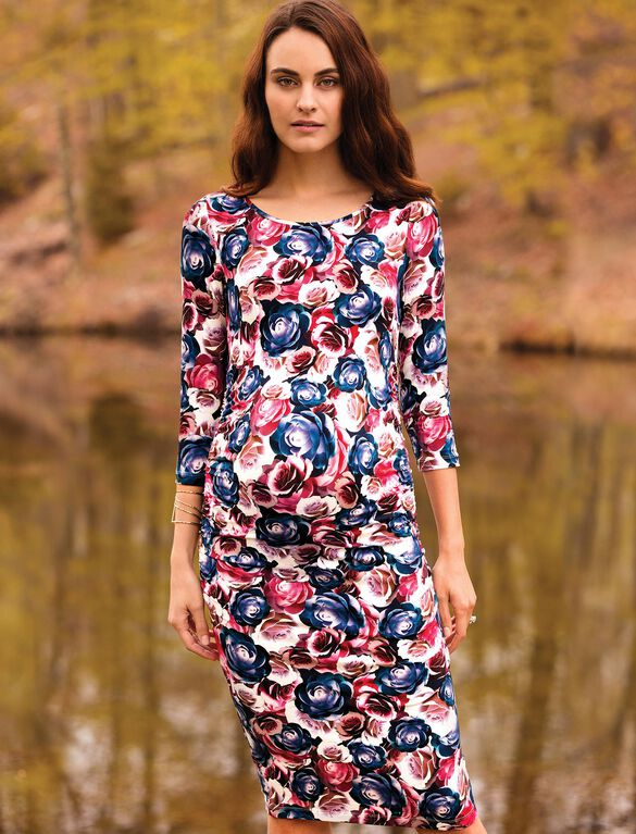 Isabella Oliver Rose Print Maternity Shirt Dress, Navy Rose Print