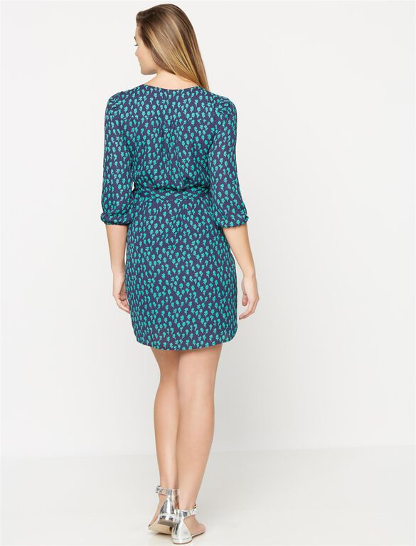 Tie Detail Maternity Dress, Teal/Navy Floral