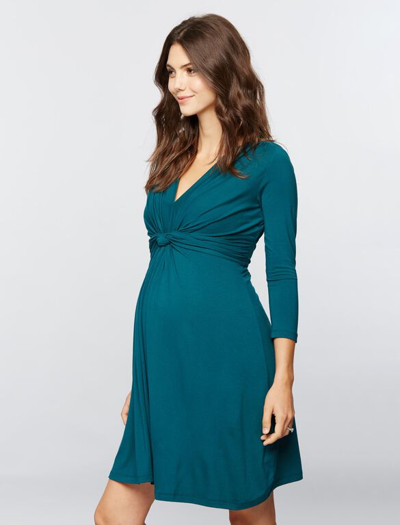 Seraphine Jolene Long Sleeve Maternity Dress- Green, Dark Green