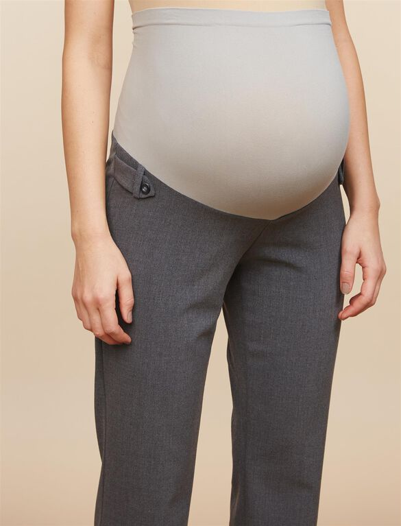Secret Fit Belly Bi-stretch Suiting Straight Leg Maternity Pants, Grey