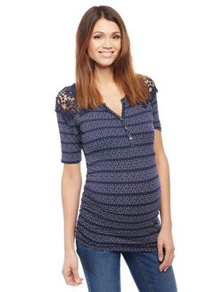 Crochet Shoulder Henley Maternity Knit Top- Dot Print, Navy Dot