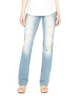 Wallflower Secret Fit Belly Kelly Boot Maternity Jeans, Light Wash Bleach