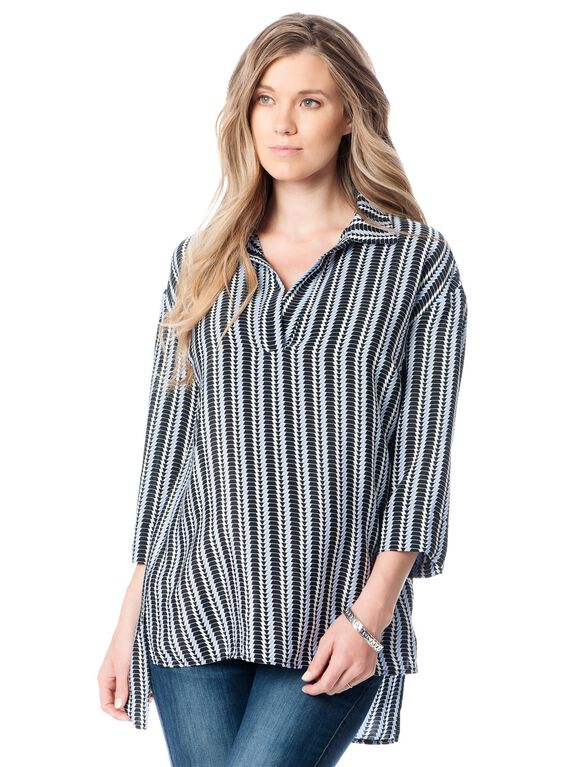 Striped Hi-lo Hem Maternity Tunic, Chambray
