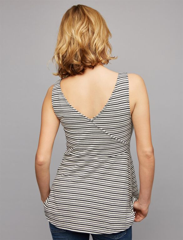 Faux Wrap Maternity Tank Top, BLACK/WHITE STRIPE