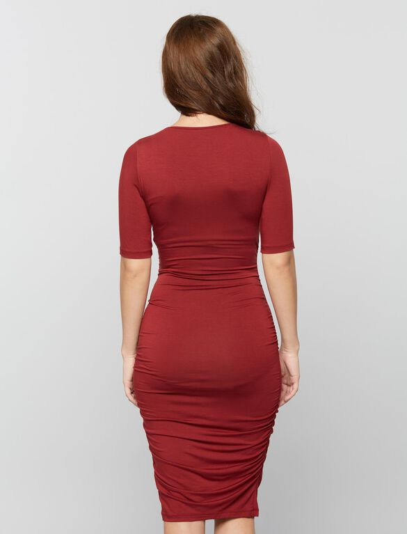 Side Ruched Maternity Dress- Wine, Divine Wine