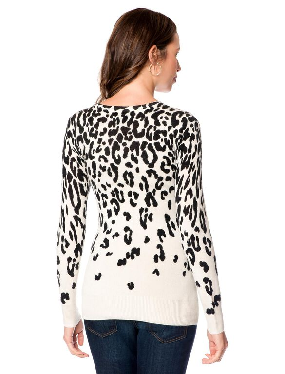 Long Sleeve Leopard Print Cashmere Maternity Sweater, Cream/Black Leopard