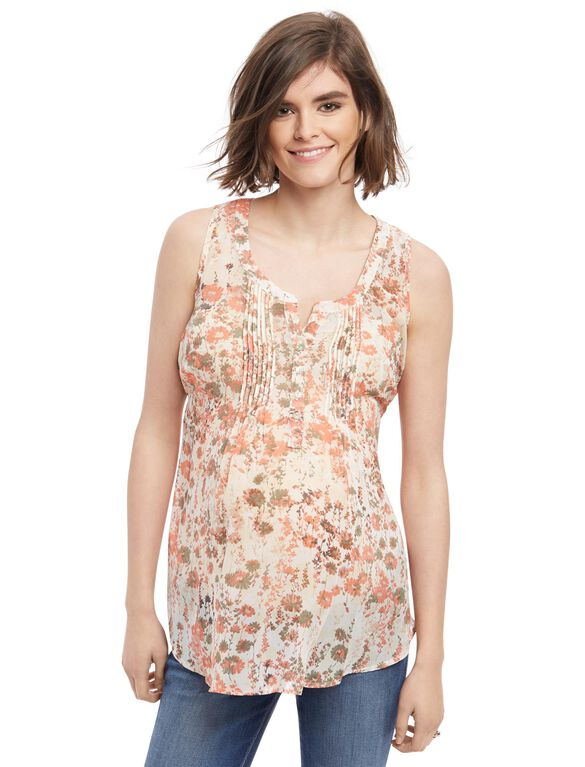 Pleated Maternity Tank, All Over Flral