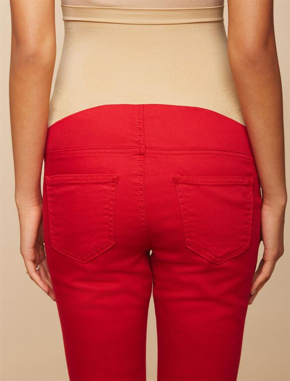 Jessica Simpson Secret Fit Belly Let Down Hem Maternity Crop Pants, Ski Patrol Red