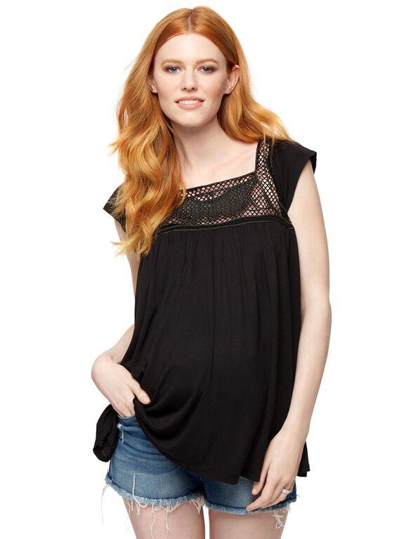 Crochet Detail Maternity Top, Black