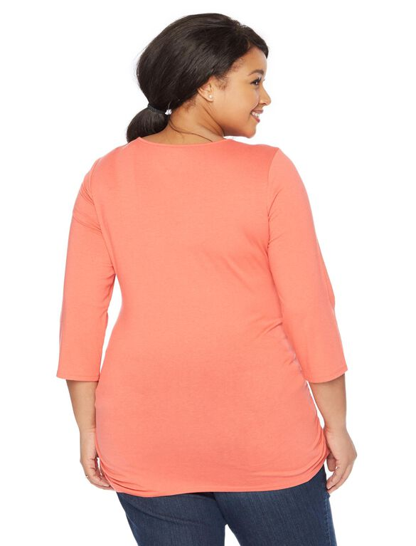 Plus Size Side Ruched Maternity T Shirt, Rose Of Sharon