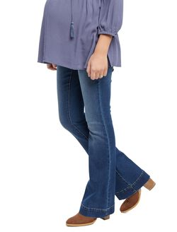 Indigo Blue Secret Fit Belly Flare Maternity Jeans, Medium Wash
