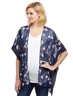 Lace Trim Maternity Kimono- Floral, Navy/Pink Floral