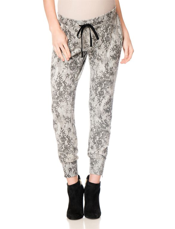 Pull On Style Maternity Jogger Pant, Grey Print