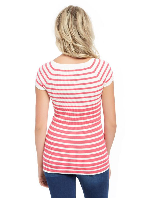 Rib Knit Maternity Sweater, Pink Stripe