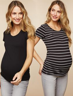 BumpStart Maternity Tee (2 Pack), Stripe/Black