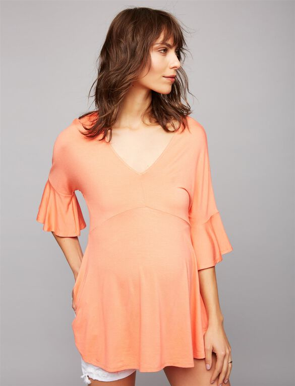 Ella Moss Bell Sleeve Maternity Top, Flame