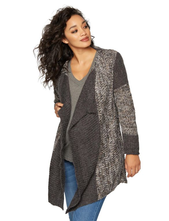Splendid Bias Cut Maternity Cardigan, Charcoal