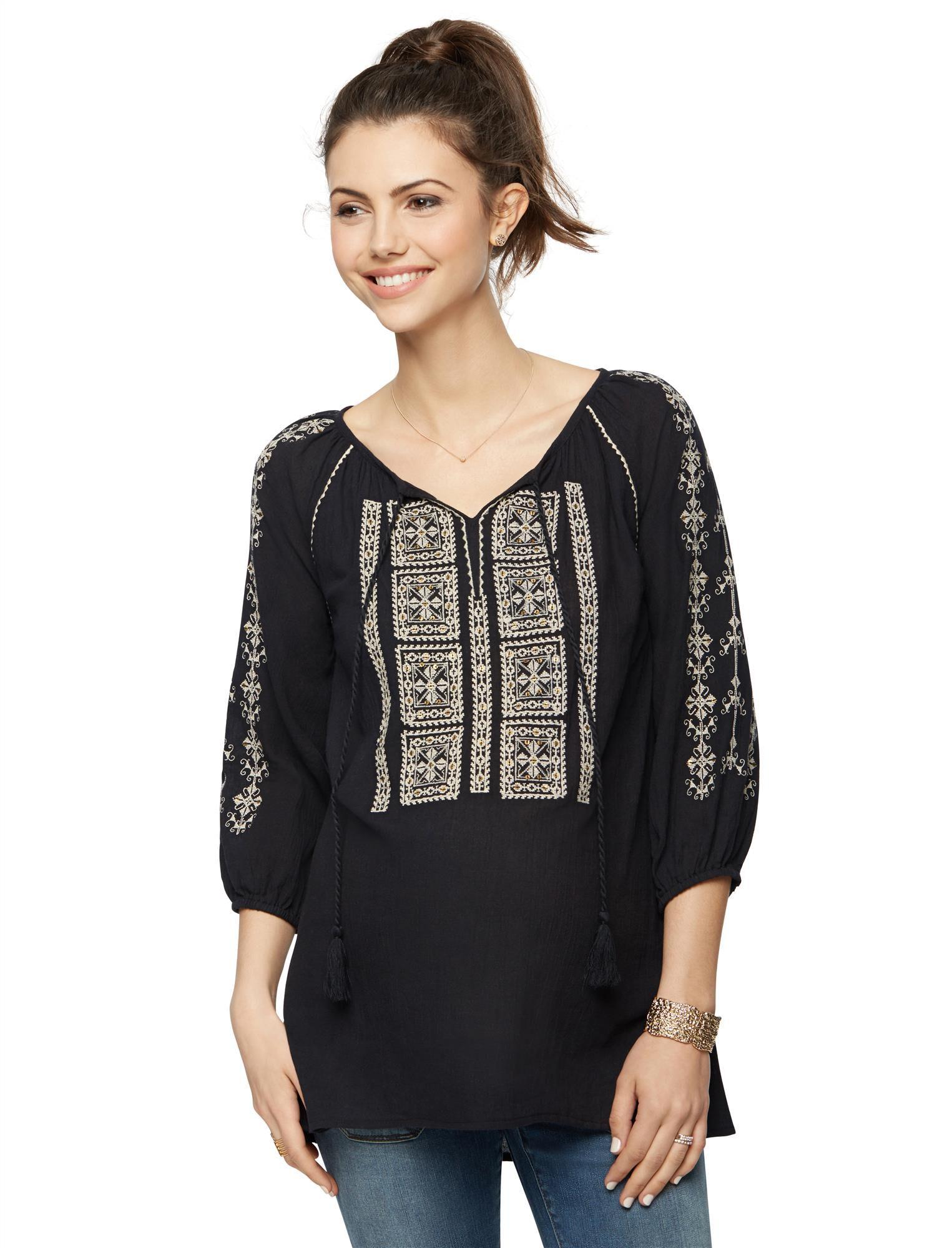 Split Neckline Embroidered Maternity Blouse- Black