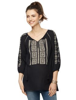 Split Neckline Embroidered Maternity Blouse- Black, Black/Tan